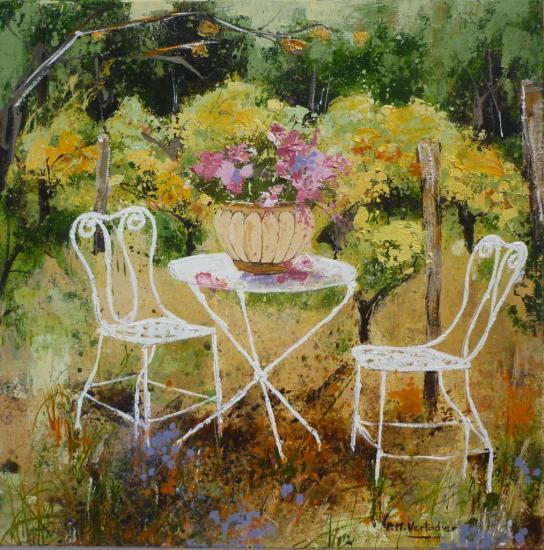 Table de jardin blanche 50x50