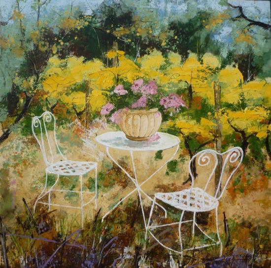 Table de jardin blanche 100x100