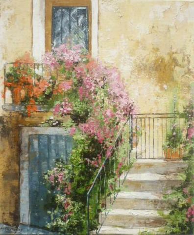 balcon et escalier en fleures 55x46