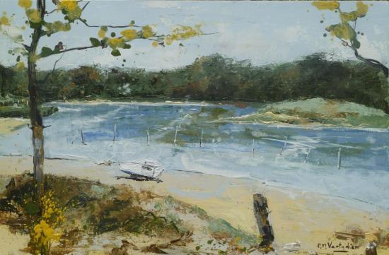 Barque sur la plage de la Guittière 1 26x40 H sur bois   407