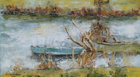 barque à Ribou 25x44 H sur bois   411