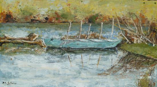 Barque à Ribou 25x44 H sur bois   412