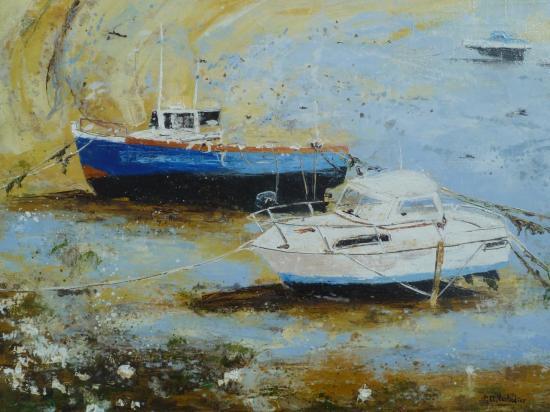 bateaux sur la plage à St Malo 61x46  421
