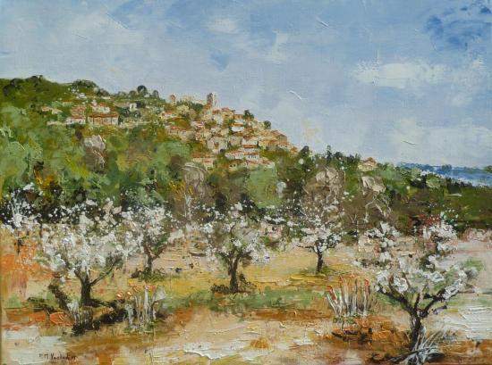 Les arbres en fleurs à Lacoste 61x46   428