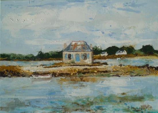 La maison aux volets bleus sur la Ria d'Etel 46x33   437