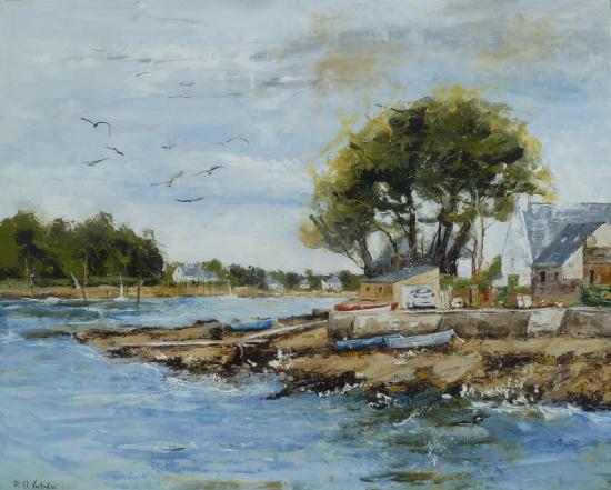 Le quai de St Cadot à marée basse 100x81  (450)