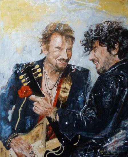 Johnny et son guitariste Yarol Poupaud. Dim: 73x60  ( 470018 )