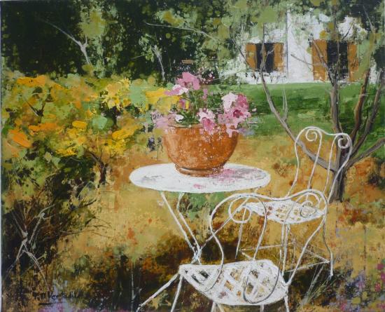 Table de jardin blanche 46x37